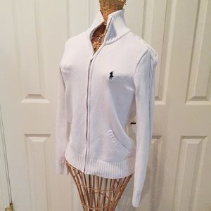 Beautiful white zip up knit Ralph Lauren cardigan